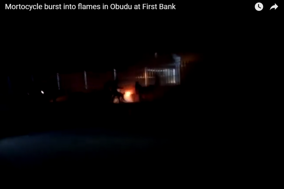 Mortocycle burst into fire in Obudu