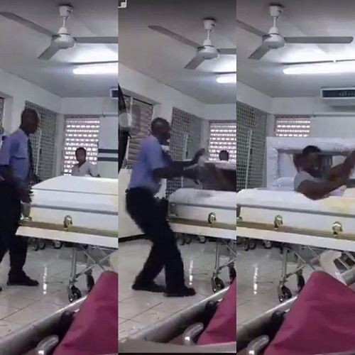 Moment a man was pranked on his first day at work as a mortuary attendant (Video)