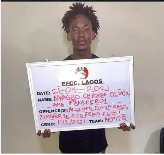 Nigerian comedian, Pankeeroy apprehended by the EFCC for alleged Internet Fraud