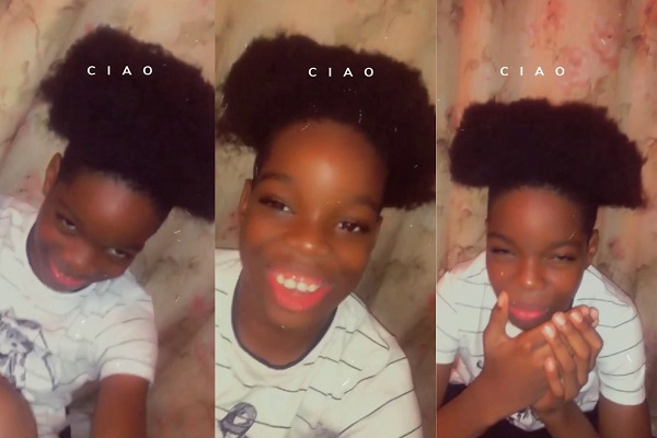 Wizkid's first son Tife shows off his new haircut in a viral video