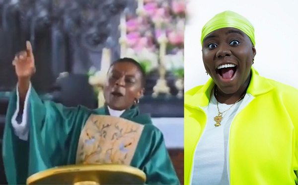Ghanaian Pastor makes her church members sing to Teni's song during service (Video)