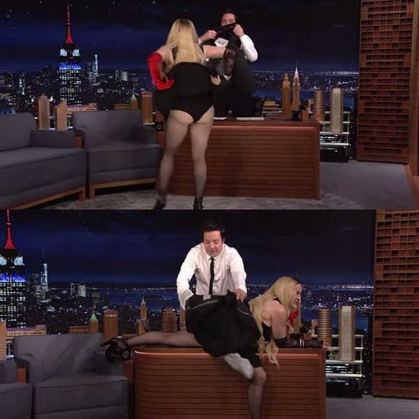 Madonna goes wild on live TV, pulls up her dress to expose her underwear (Photos)